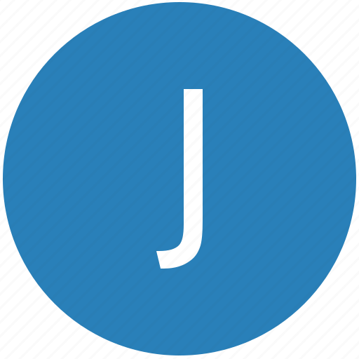 j, keyboard, latin, letter, round, text, uppercase icon