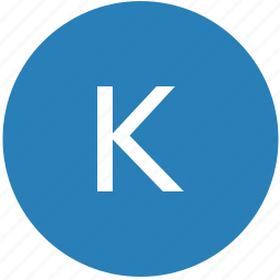 k, keyboard, latin, letter, round, text, uppercase icon