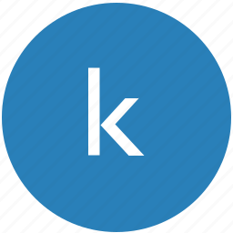 k, keyboard, latin, letter, lowcase, round icon