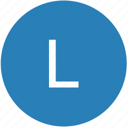 keyboard, l, latin, letter, round, text, uppercase icon