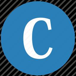 c, keyboard, latin, letter, round, uppercase icon