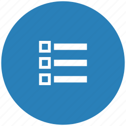 blue, list, listing, order, round icon