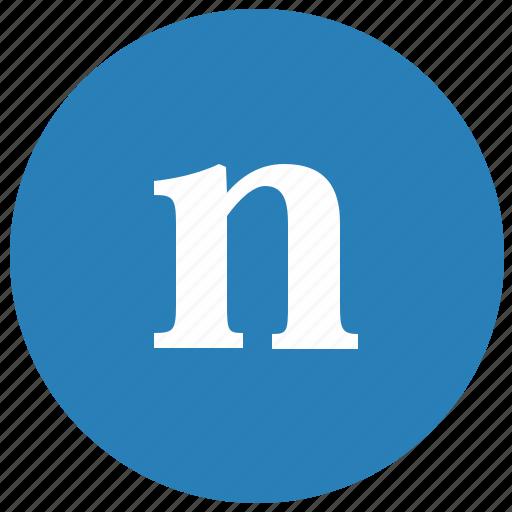 alphabet, latin, letter, lowcase, n, round icon