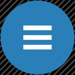 bar, blue, menu, navigation, round icon