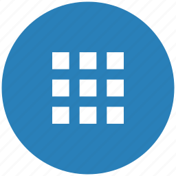 bar, blue, menu, round, tile icon