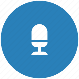 blue, mic, microphone, record, round icon