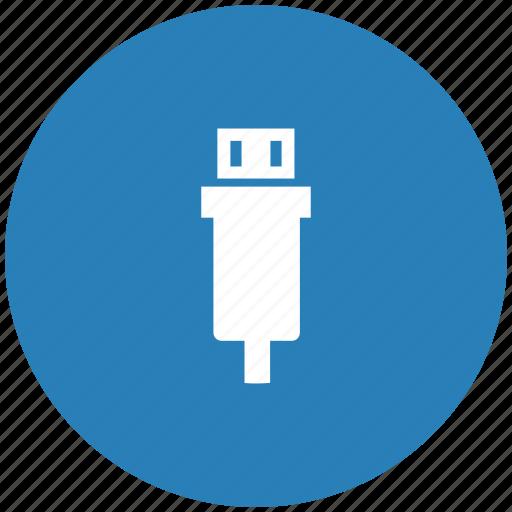 blue, mini, round, usb icon