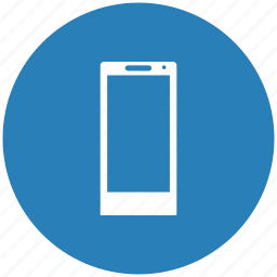 blue, mobile, phone, round icon