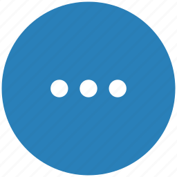 blue, dots, menu, more, round icon