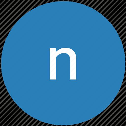 keyboard, latin, letter, lowcase, n, round, text icon