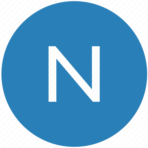 keyboard, latin, letter, n, round, text, uppercase icon