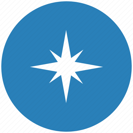 blue, compass, navigation, round, way icon