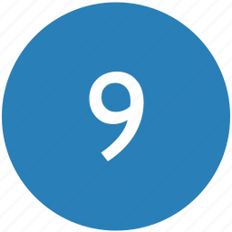 keyboard, nine, number, round icon