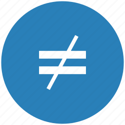 blue, equal, function, math, not, round icon