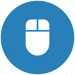 blue, input, mouse, pc, round icon