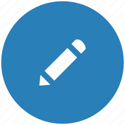 blue, instrument, pen, pencil, round icon
