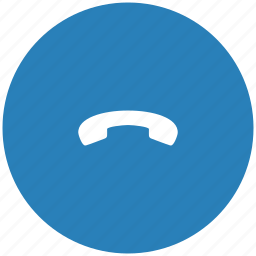 blue, dialog, end, phone, round icon