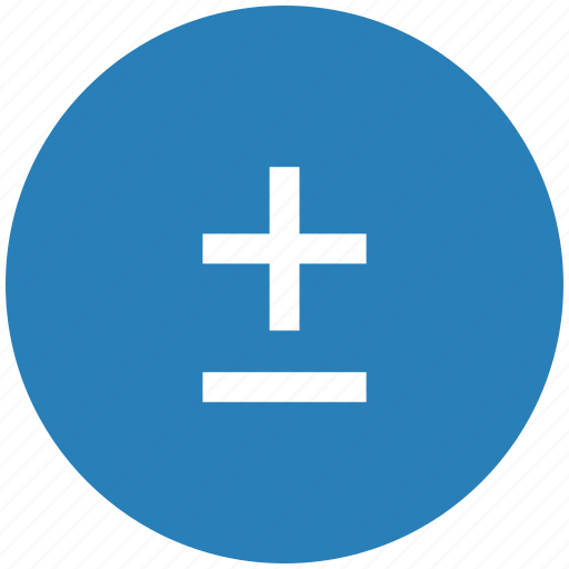 blue, function, math, minus, plus, round icon