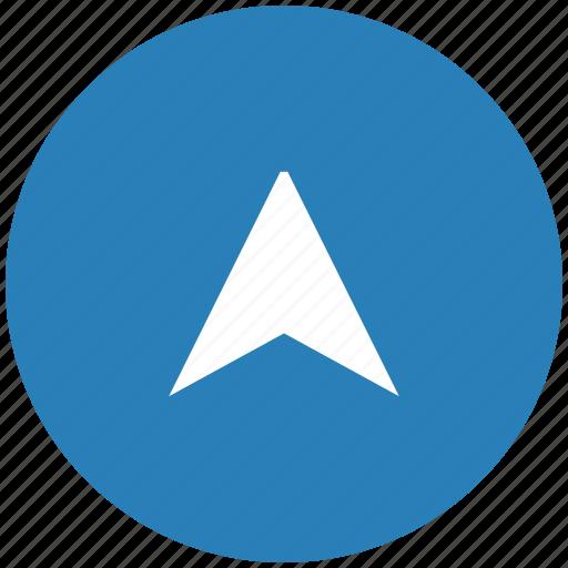 blue, drive, pointer, round, way icon