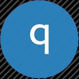 keyboard, latin, letter, lowcase, q, round, text icon