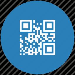 barcode, blue, code, qr, round icon