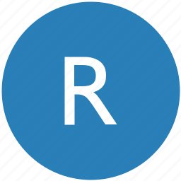 keyboard, latin, letter, r, round, text, uppercase icon