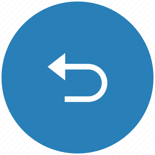 back, blue, return, round icon