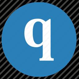 keyboard, letter, lowcase, q, round icon