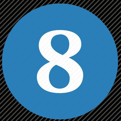 eight, keyboard, keypad, number, round icon