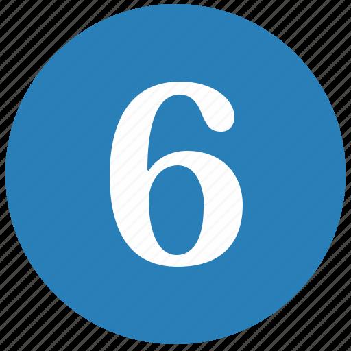 keyboard, keypad, number, round, six icon
