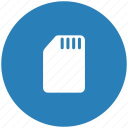 blue, card, phone, round, sim icon
