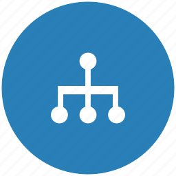blue, map, round, sitemap, structure icon