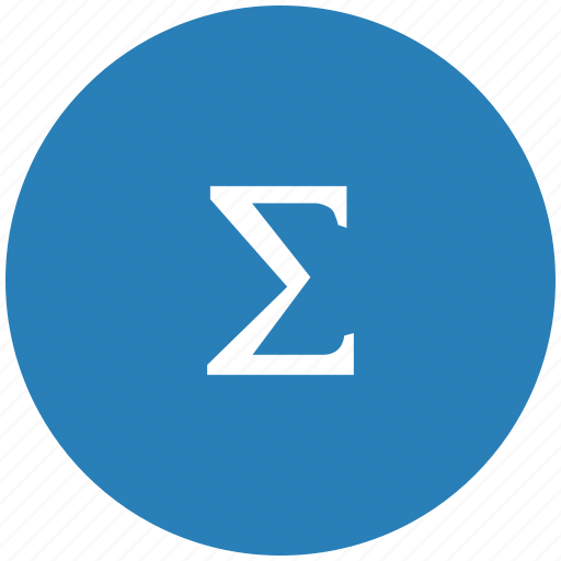 blue, function, math, round, sum, summa icon