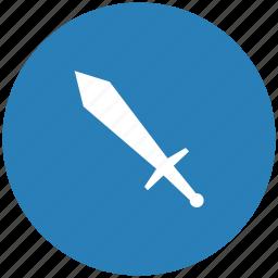 blue, round, sword, weapon icon