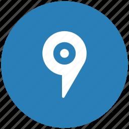 blue, geo, pointer, round, tag icon
