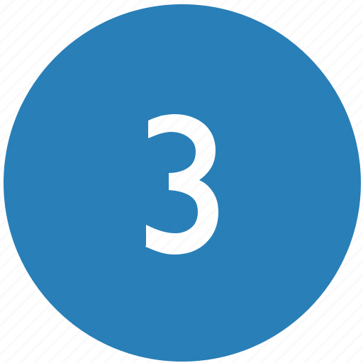 keyboard, number, round, third, three icon