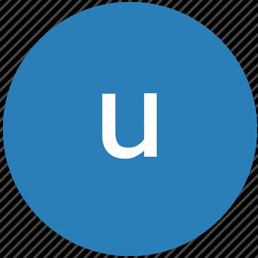 keyboard, latin, letter, lowcase, round, text, u icon