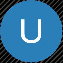 keyboard, latin, letter, round, text, u, uppercase icon