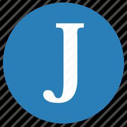 j, keyboard, latin, letter, round, uppercase icon