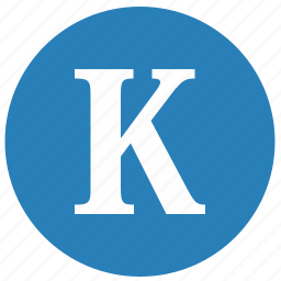 k, keyboard, latin, letter, round, uppercase icon