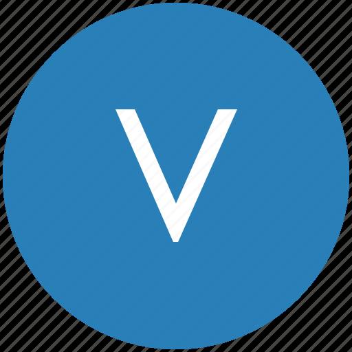 keyboard, latin, letter, round, text, uppercase, v icon