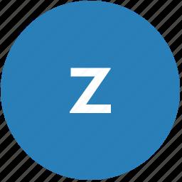 keyboard, latin, letter, lowcase, round, text, z icon