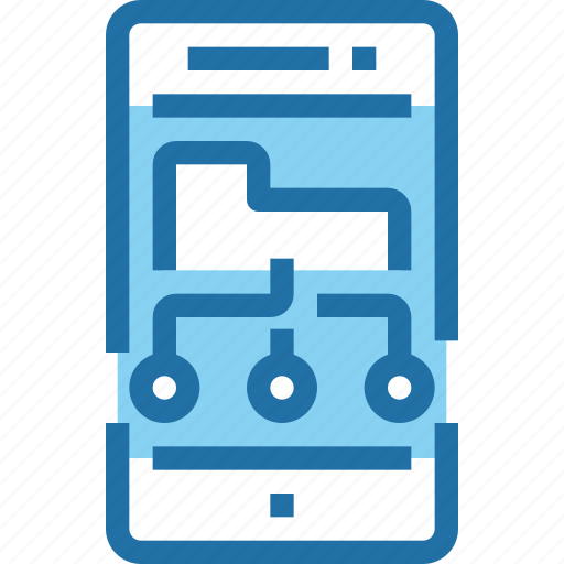 document, mobile, network, share, smartphone, technology icon