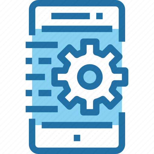 gear, mobile, process, smartphone, technology icon