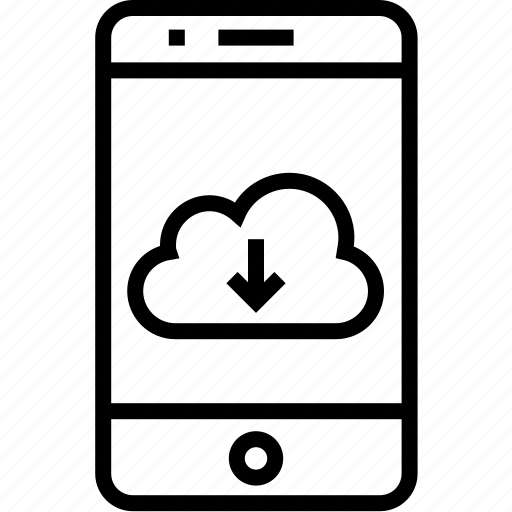 cloud, device, download, iphone, mobile, mobilephone, phone, smartphone, telephone icon