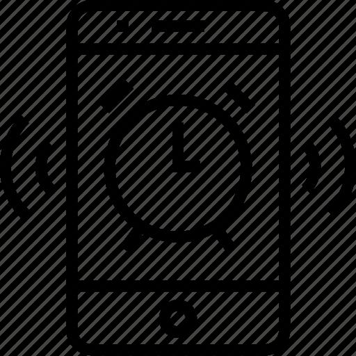 alarm, device, iphone, mobile, mobilephone, phone, ring, smartphone, telephone icon