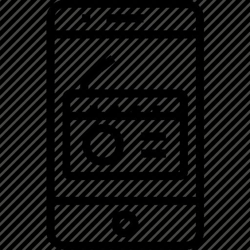 device, fm, iphone, mobile, mobilephone, music, phone, play, radio, smartphone, telephone icon