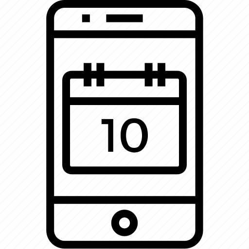 calendar, cell, date, device, iphone, mobile, mobilephone, phone, smartphone, telephone icon