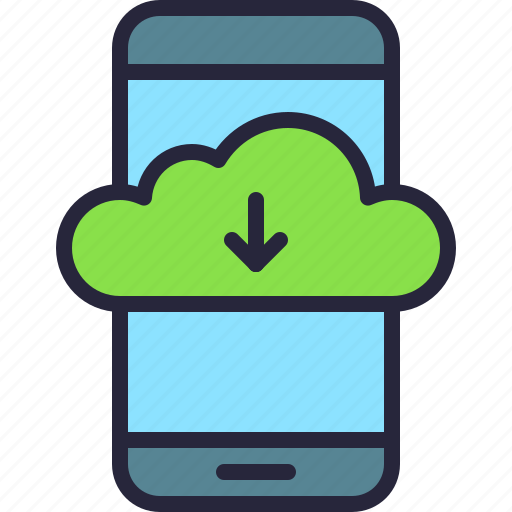 app, cloud, download, drive, mobile, phone, storage icon