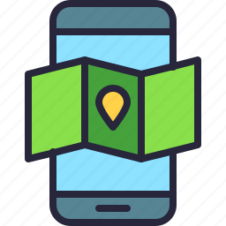 app, gps, localization, map, mobile, phone icon